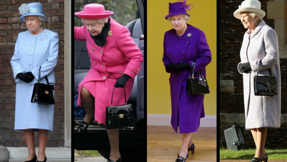 INNHOLDET AVSLØRT: Dronning Elizabeth elsker sine vesker. I denne artikkelen kan du lese hva hun har med seg.  Foto: All over press