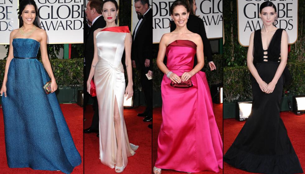 FLOTTE FRUER: Frida Pinto, Angelina Jolie, Natalie Portman og Rooney Mara strålte alle i flotte designerkjoler på den røde løperen under utdelingen av Golden Globe natt til mandag.