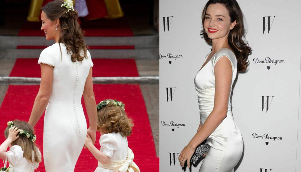 RUMPESTUNT: Miranda Kerr minnet om Pippa Middleton da hun ankom en Golden Globe fest i en åletrang, hvit kjole.  Foto: Stella Pictures