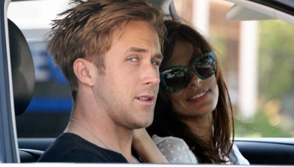 STJERNEPAR: Eva Mendes og Ryan Gosling er høyt oppe på listen over it-par i Hollywood for tiden. Foto: Jack Blanco/x17online