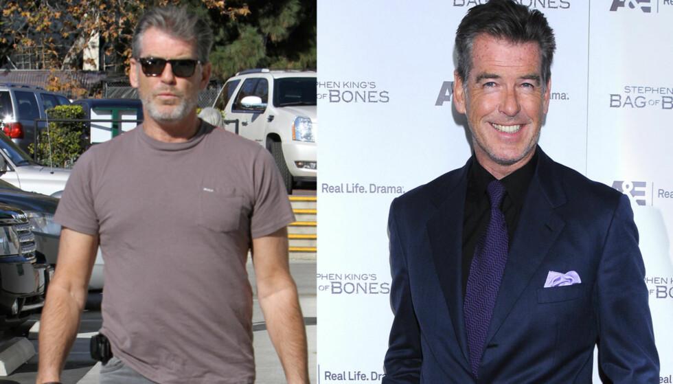 BLITT GAMMEL: Bare to uker skiller disse bildene. Til høyre er Brosnan på en filmpremiere før jul, rett etter høytiden stilte han med skjegg og grått hår.  Foto: All Over Press