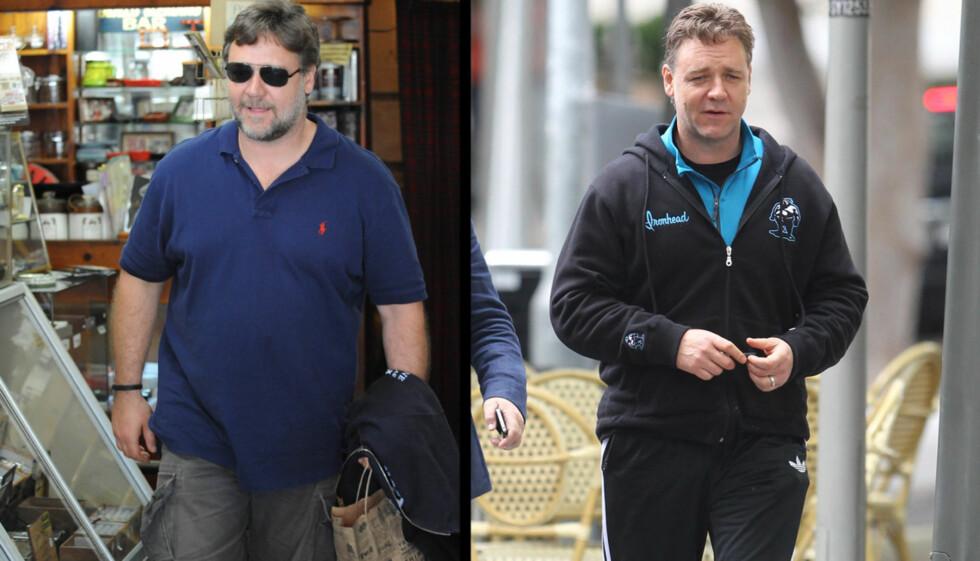 FØR/NÅ: Russell Crowe har gått ned flere kilo den siste tiden. Foto: All Over Press