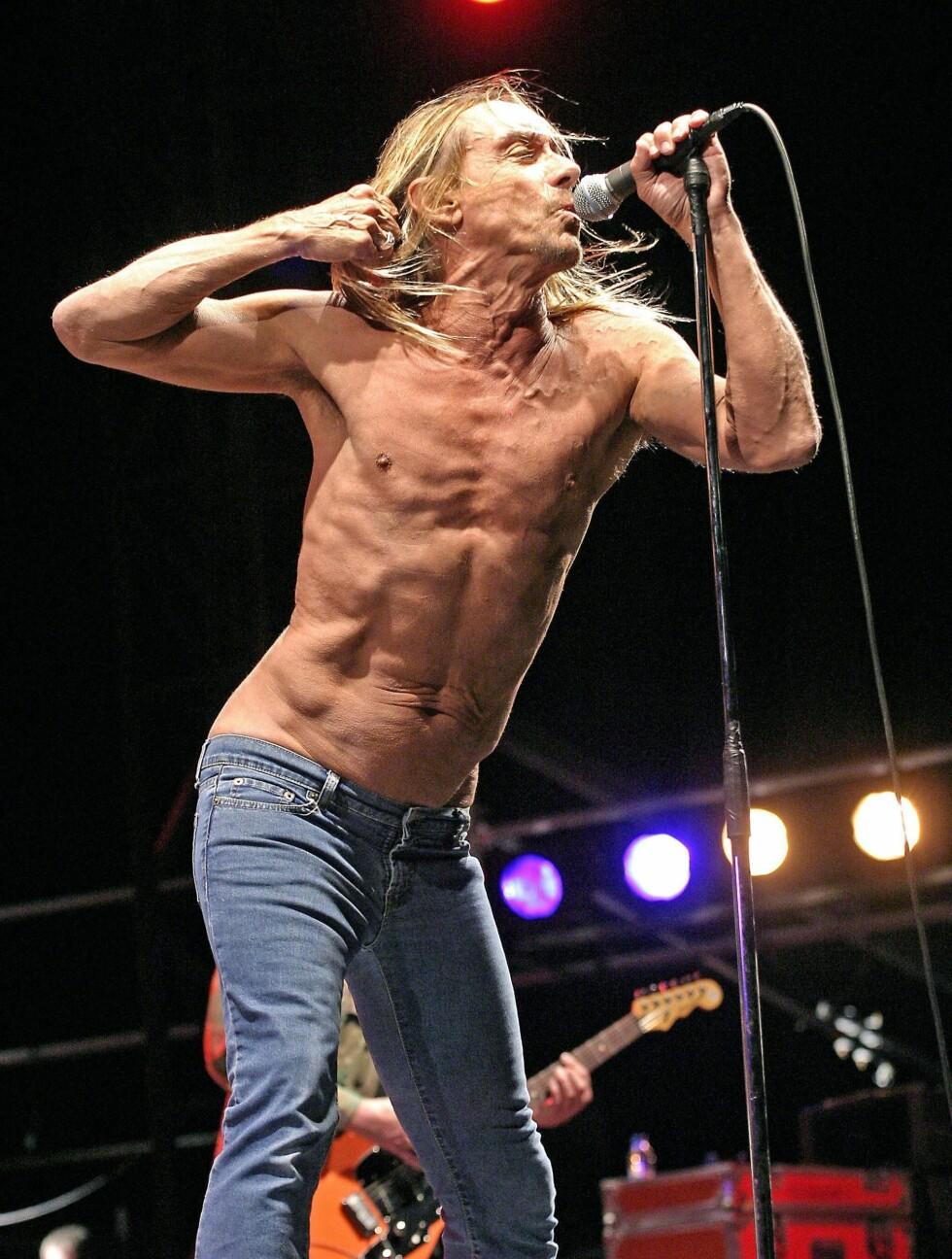 <strong>HUNK?:</strong> Rockestjerne Iggy Pop (64) er «still going strong», og opptrer nesten aldri med overdel på. Foto: Stella Pictures