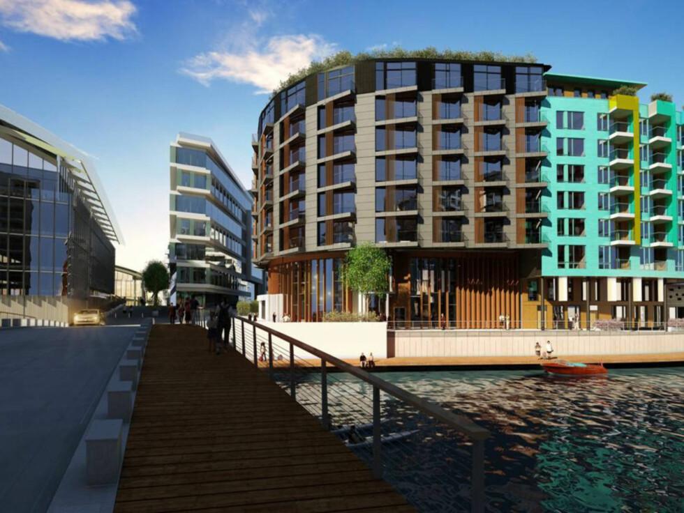 I VANNKANTEN: Dette blir byens første hotell som ligger helt nede ved vannet. Foto: Illustrasjon: Knut Ramstad for Tjuvholmen KS Foto: Jeton Kacaniku