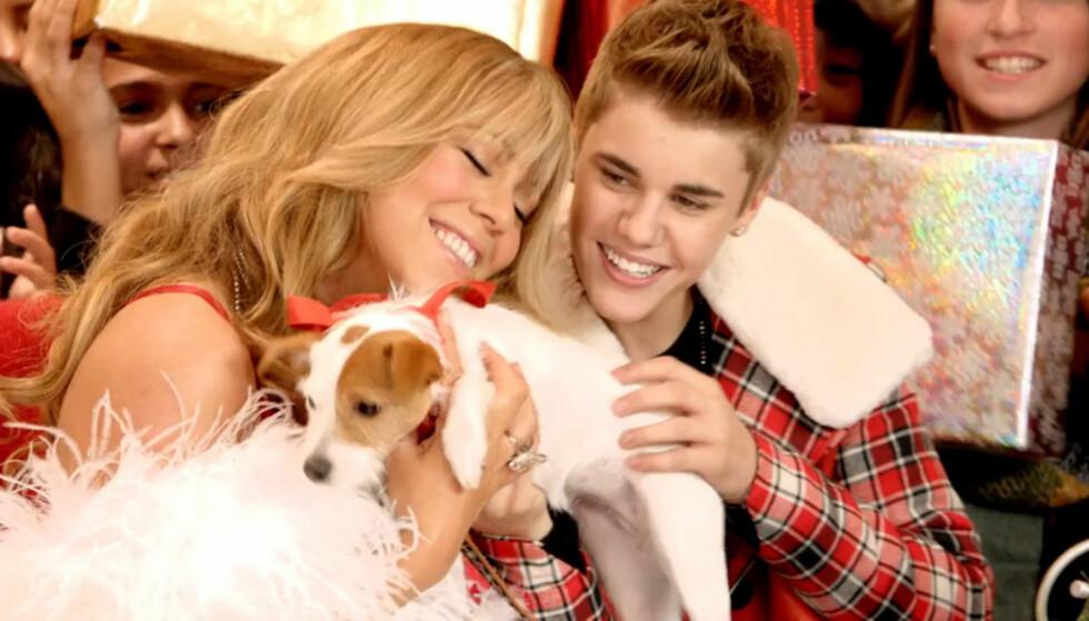 JULESTEMNING: Mariah Carey og Justin Bieber trivdes i hverandres selskap under innspillingen av videoen til «All I Want For Christmas Is You».