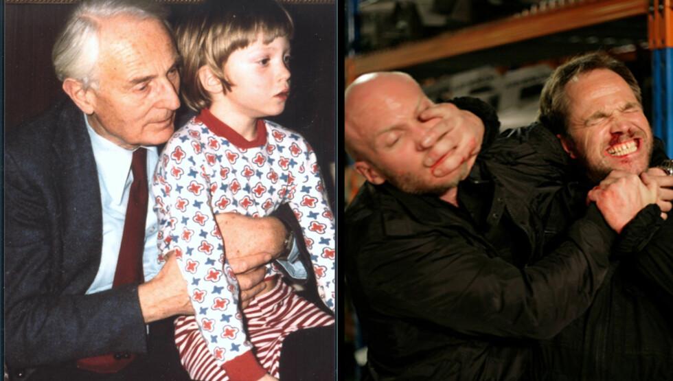 STORE KONTASTER: På bildet til venstre er Jonathan Espolin Johnson 7 år, og sitter på fanget til bestefar «Onkel Lauritz», som var 73 år den gangen. På bildet til høyre er han i nærkamp med rollefiguren til Jon Øigarden i «I mørket er alle ulv Foto: Privat/Filmweb