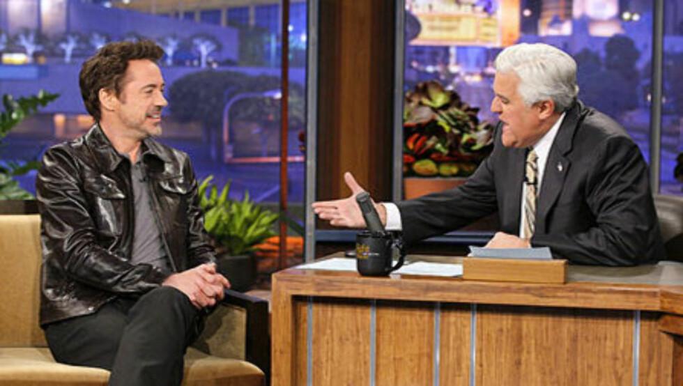 RØPET BARNETS KJØNN: - Shit. Jeg sa det, sa Robert Downey Jr. til Jay Leno etter å ha røpet at han og kona venter en liten gutt. Foto: NBC