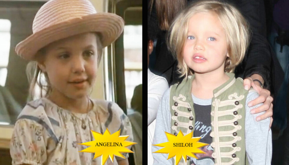 SOM TO DRÅPER VANN: Likheten mellom Angelina Jolie som seksåring og hennes eldste biologiske datter Shiloh (5) er slående.