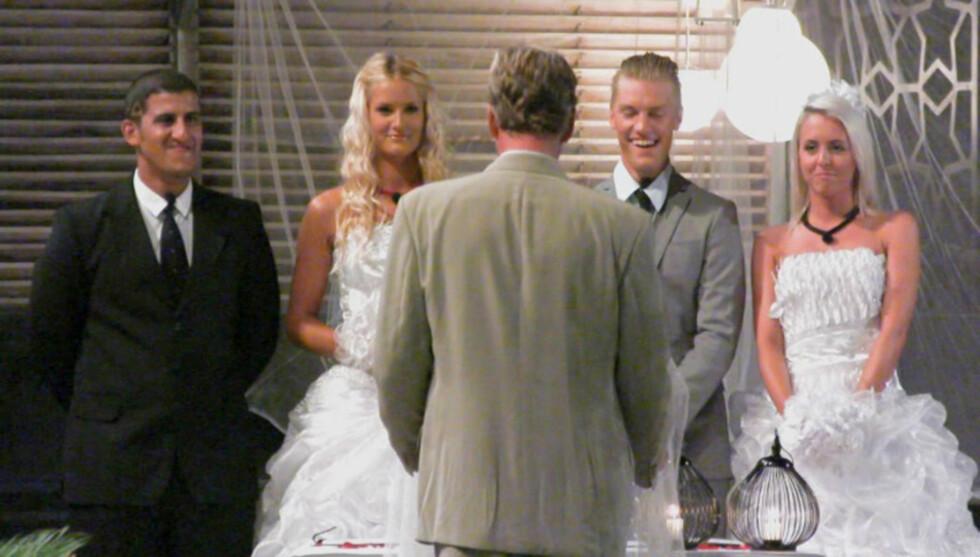 <strong>DOBBELTBRYLLUP:</strong> Realitydeltagerne Khalid Hacham, Tina Klafstadbakken, Niklas Røseth og Irmelin Jensen blir alle lovet 40 000 kroner til hvert sitt lag i serien «Fristet», dersom de gifter seg foran TV-kameraene. Foto: TV3