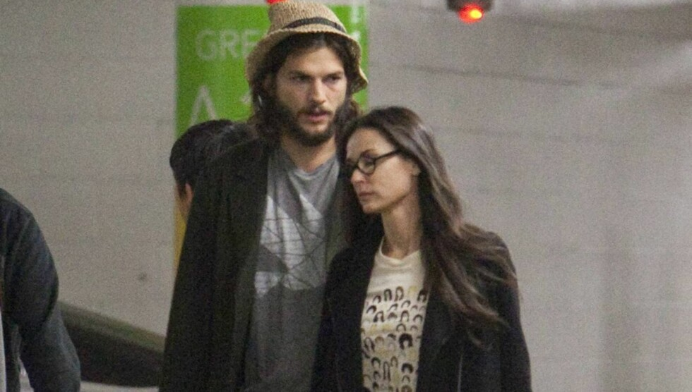 SLITNE: Ingen tvil om at den siste tiden har vært en tøff påkjenning for både Ashton Kutcher og kona Demi Moore. Nå drar de utenlands for å redde ekteskapet. Foto: All Over Press