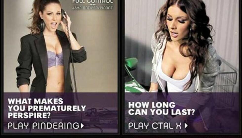 <strong>FOR STERKT FOR BRITENE:</strong> Det britiske reklametilsynet har bannlyst disse reklamene med modellen Lucy Pinder, fordi de mener den er nedverdigende mot kvinner.