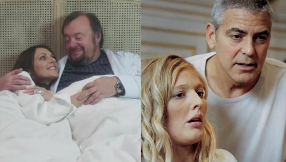 VILLE IKKE BYTTET: Mona Grudt hun syntes det var langt mer stas å spille inn en parodi på George Clooneys DnB NOR-reklame med tidligere Trondheimsordfører Marvin Wiseth, enn tanken på å spille Hollywood-stjernens kjæreste i originalen.