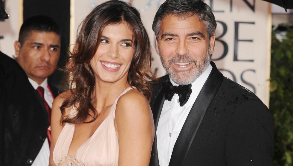 FAR OG DATTER?: Ifølge Elisabetta Canalis skal det to år lange forholdet til George Clooney ha vært preget av at han var som en farsfigur for henne. Paret gikk hvert til sitt i sommer. Her er de avbildet på Golden Globe-utdelingen i Beverly Hills i 20 Foto: All Over Press