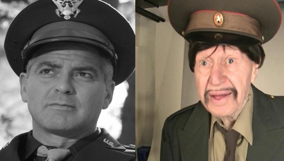 KOPIERER CLOONEY: Arnie Norse iførte seg militæruniform da han imiterte George Clooney fra filmen «The Good German» fra 2006.  Foto: All Over/Lina Hekkli/Seher.no