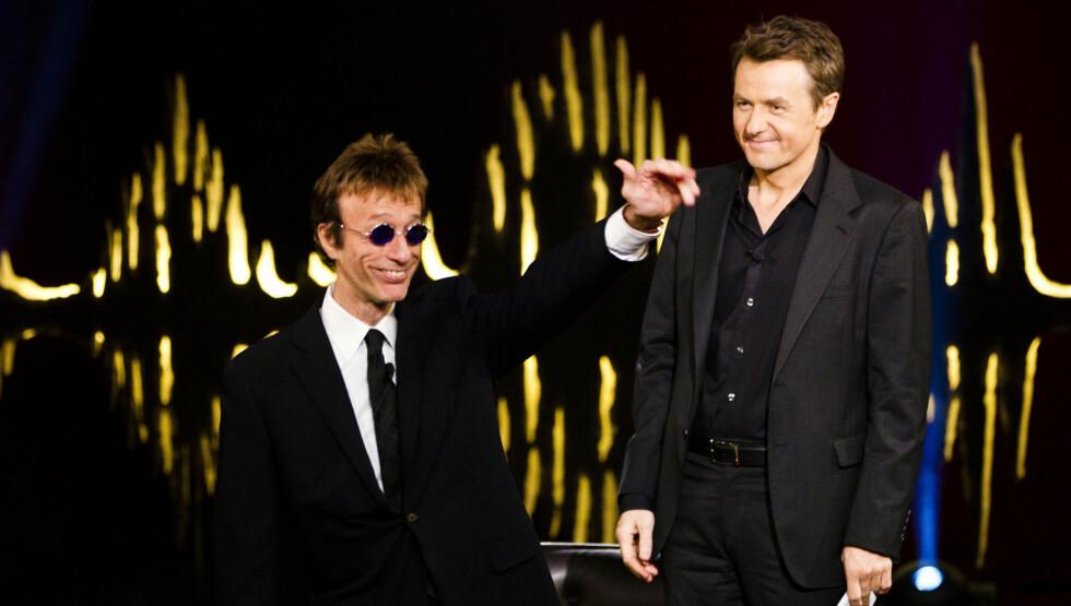 <strong>TIL SYKEHUS:</strong> «Bee Gees»-stjernen Robin Gibb, som i 2010 var gjest hos Fredrik Skavlan, er innlagt på sykehus. Nok en gang på grunn av trøbbel med magen. Foto: Fame Flynet