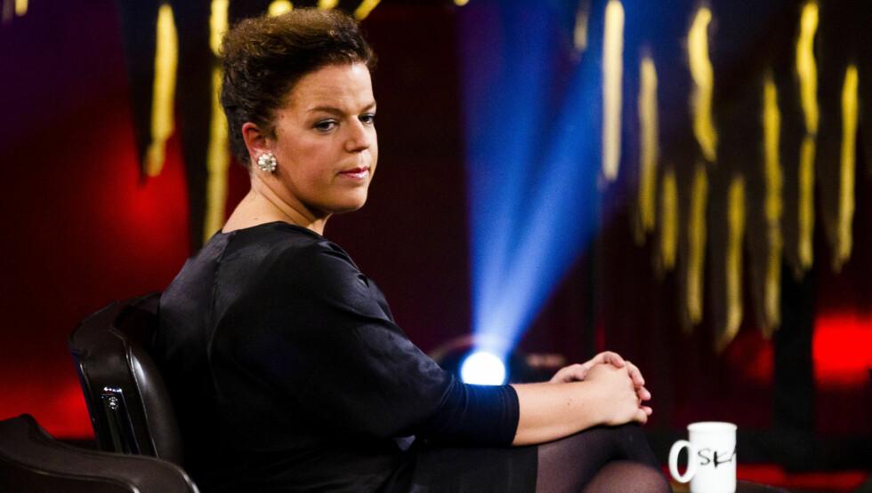 SNAKKET OM SORGEN: Else Kåss Furuseth fortalte om sorgen etter tapet av mor og bror under innspillingen av Skavlan torsdag. Foto: STELLA PICTURES