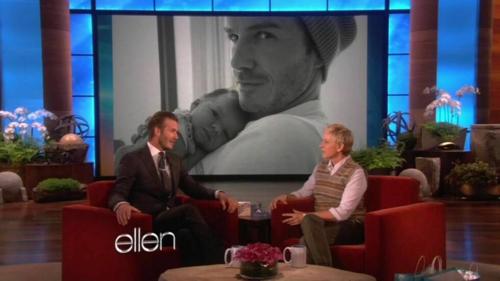 TALKSHOW: David Beckham gjestet Ellen DeGeneres talkshow tidligere denne måneden og fortalte henne at han ønsker seg enda et til barn. Foto: All Over Press