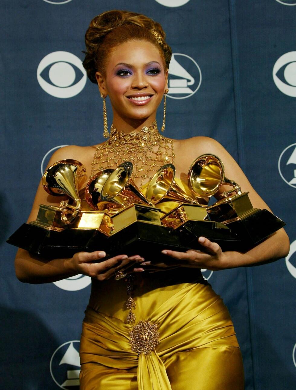 <strong>2004:</strong> Under Grammy prisutdelingen kunne Beyoncé hente hjem hele fem priser.  Foto: All Over Press