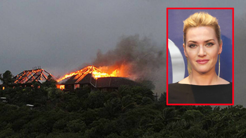 GREP INN: Filmstjernen Kate Winslet bar den 90 år gamle moren til milliardæren sir Richard Branson ut av flammene da huset de bodde i på øya Neckar i Karibien begynte å brenne mandag. Foto: All Over Press