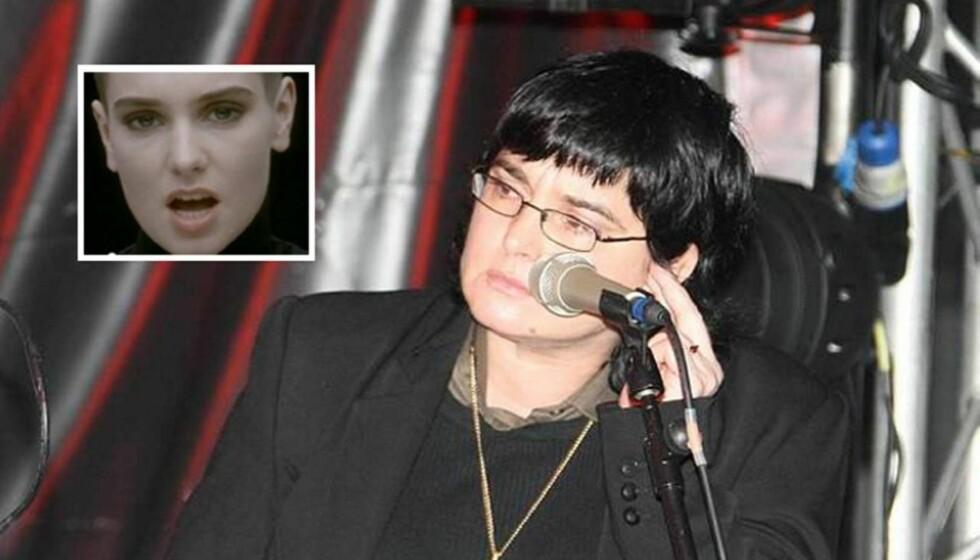 FØR OG NÅ: Sinead O Connor var ikke til å kjenne igjen da hun opptrådte på The Bray Seaside-festivalen i Irland søndag. Innfelt er artisten slik hun så ut da hun slo igjennom i 1990. Foto: All Over Press