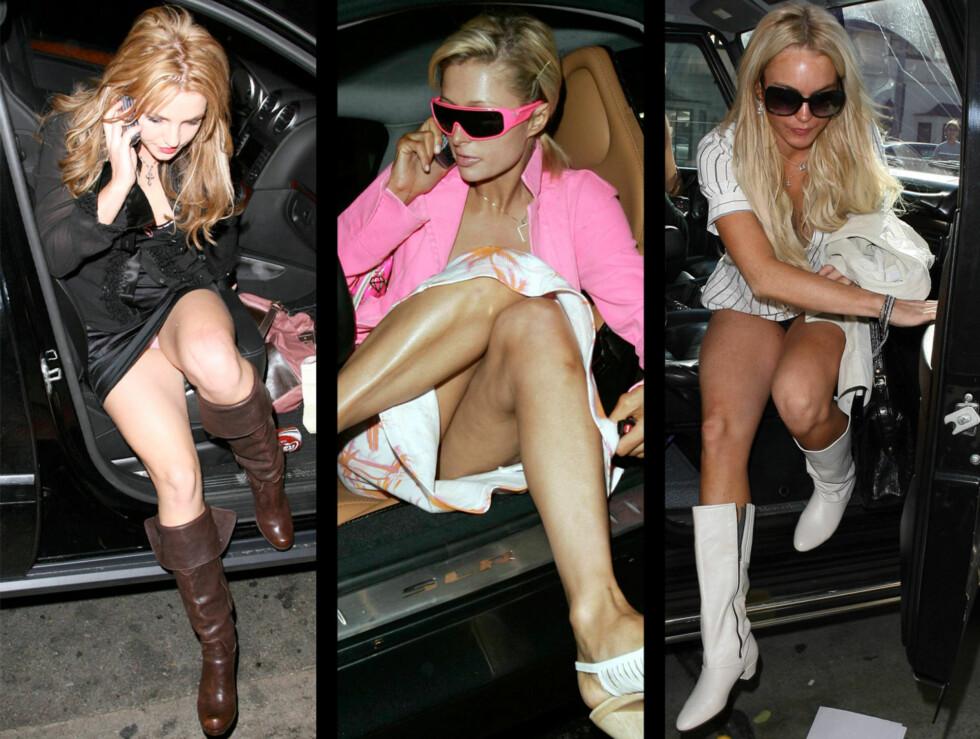 KLESTABBER: Superstjerner som Britney Spears, Paris Hilton og Lindsay Lohan har alle opplevd å avsløre litt for mye foran fotografene, noe som ga dem tilnavnet «trio truseløs». Foto: All over press