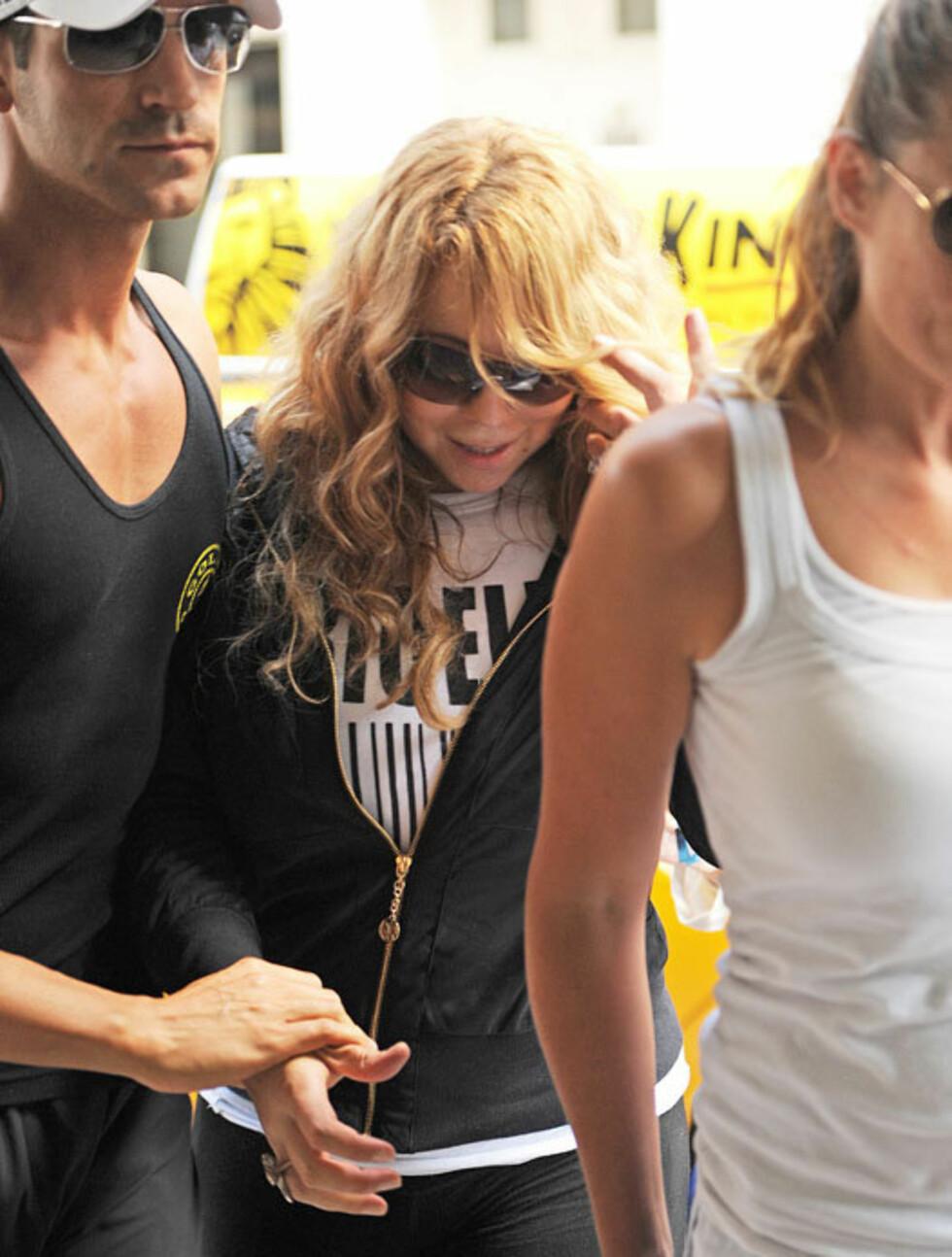 FORMFULL: Mariah Carey har nok merket at tvillinggraviditeten har tatt sin toll på hennes flotte figur - kanskje en medvirkende årsak til at hun helst ikke ville la seg avbilde? Foto: All Over Press