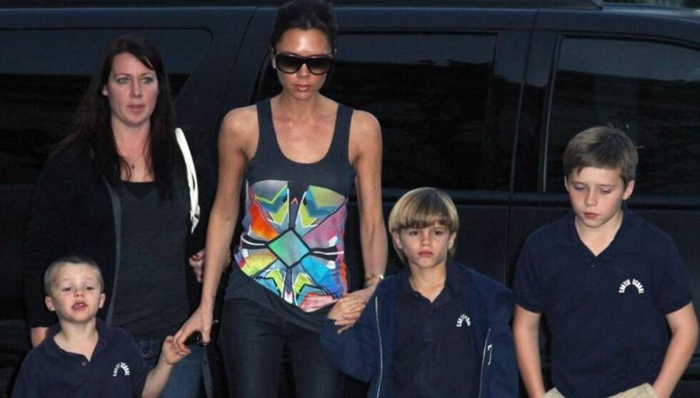 <strong>GA SØNNENE EN SØSTER:</strong> Victoria Beckham har nå fått en datter å ta seg av, i tillegg til sønnene Cruz, Romeo og Brooklyn. Foto: Stella Pictures
