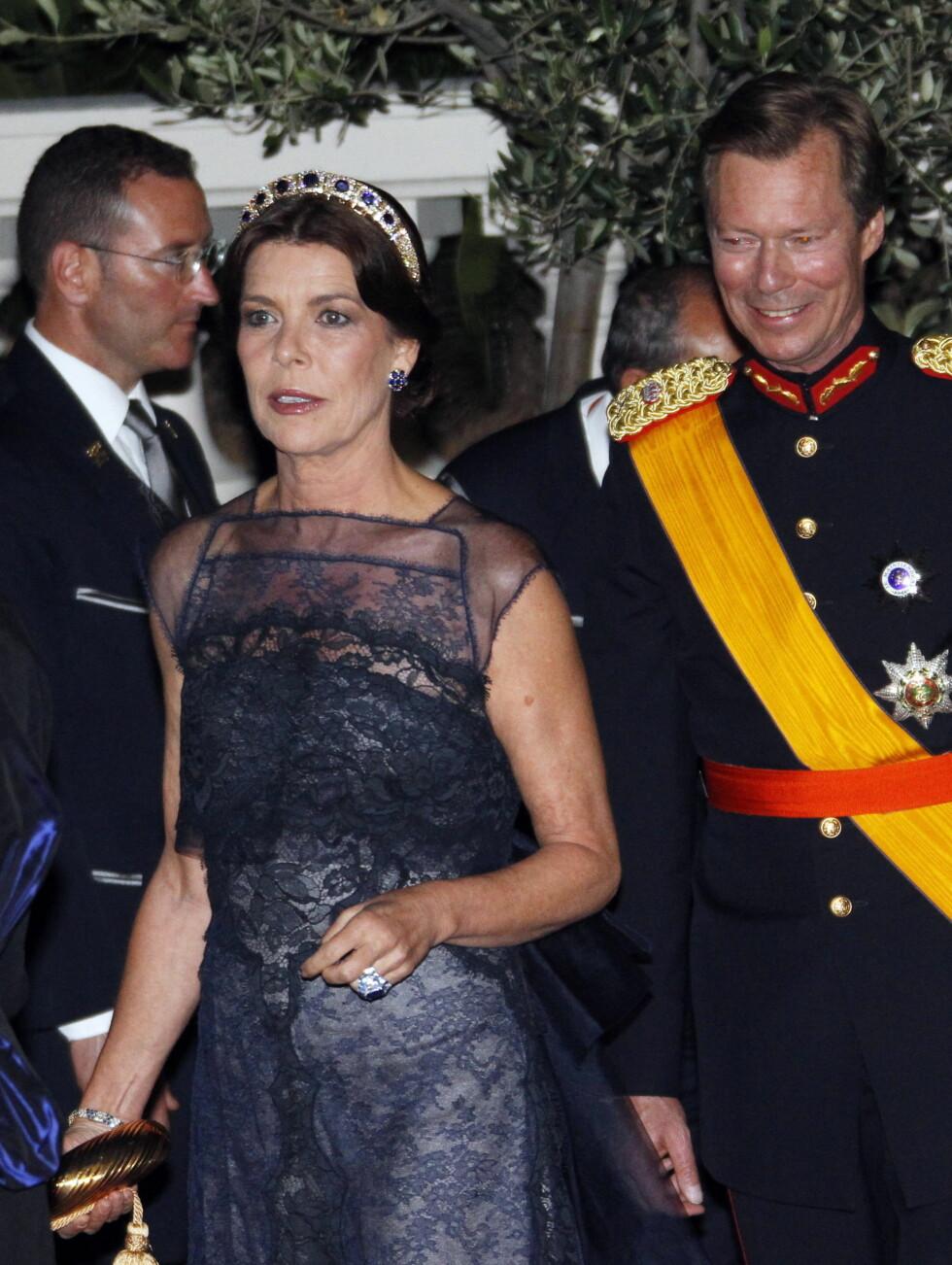 MONACO-LUXEBURG: Prinsesse Caroline av Monaco med storhertug Henri av Luxembourg. Foto: Scanpix