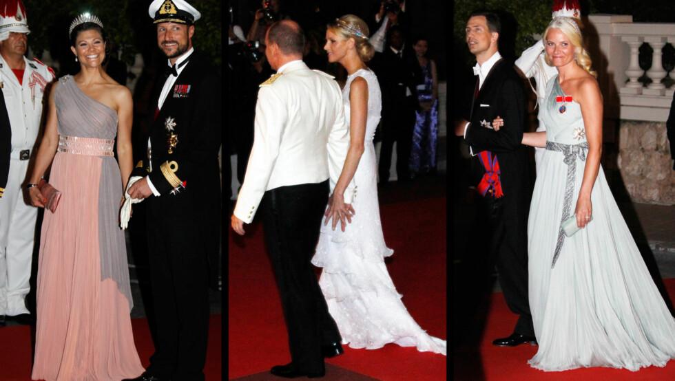 NYE KLÆR OG NYE PARTNERE: Kronprinsesse Victoria kom til festen arm i arm i vår egen kronprins Haakon. Mens kronprinsesse Mette-Marit kom med arveprins Alois av Liechtenstein. Også bruden hadde skiftet antrekk til gallamiddagen og hadde fått på seg d Foto: Scanpix