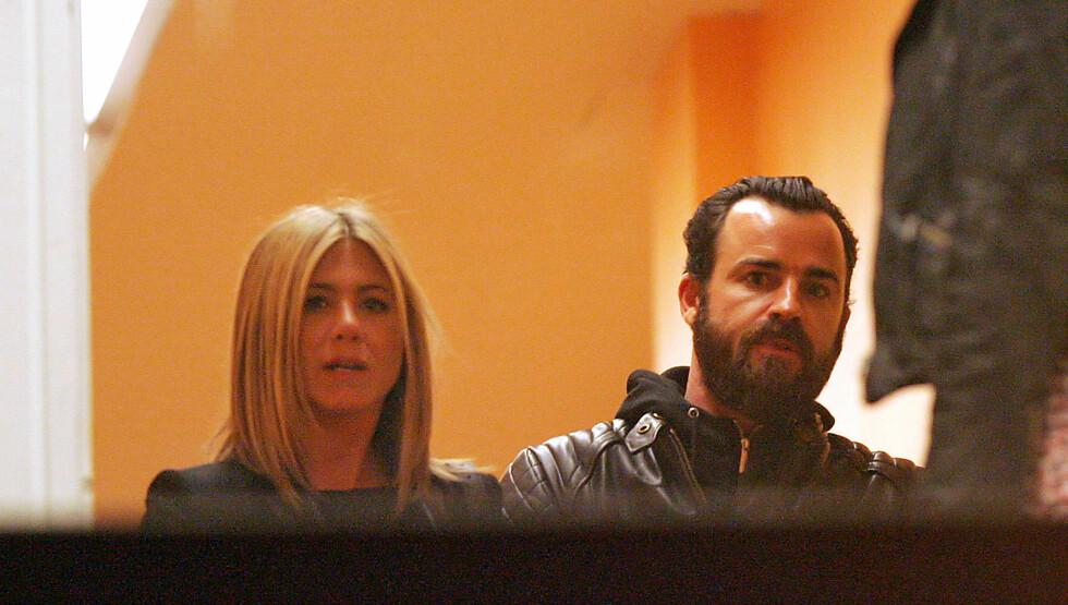 <strong>PÅ DATE:</strong> Aniston og Justin Theroux var fredag på date i New York. Det fikk fotografene med seg. Foto: All Over Press