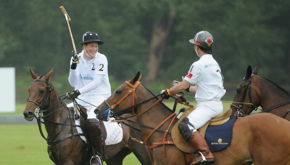 KJÆRESTERYKTER: Prins Harry, her på hesteryggen under en Polo-kamp, skal ha funnet lykken med vakre Florence Brudenell-Bruce.  Foto: All Over Press