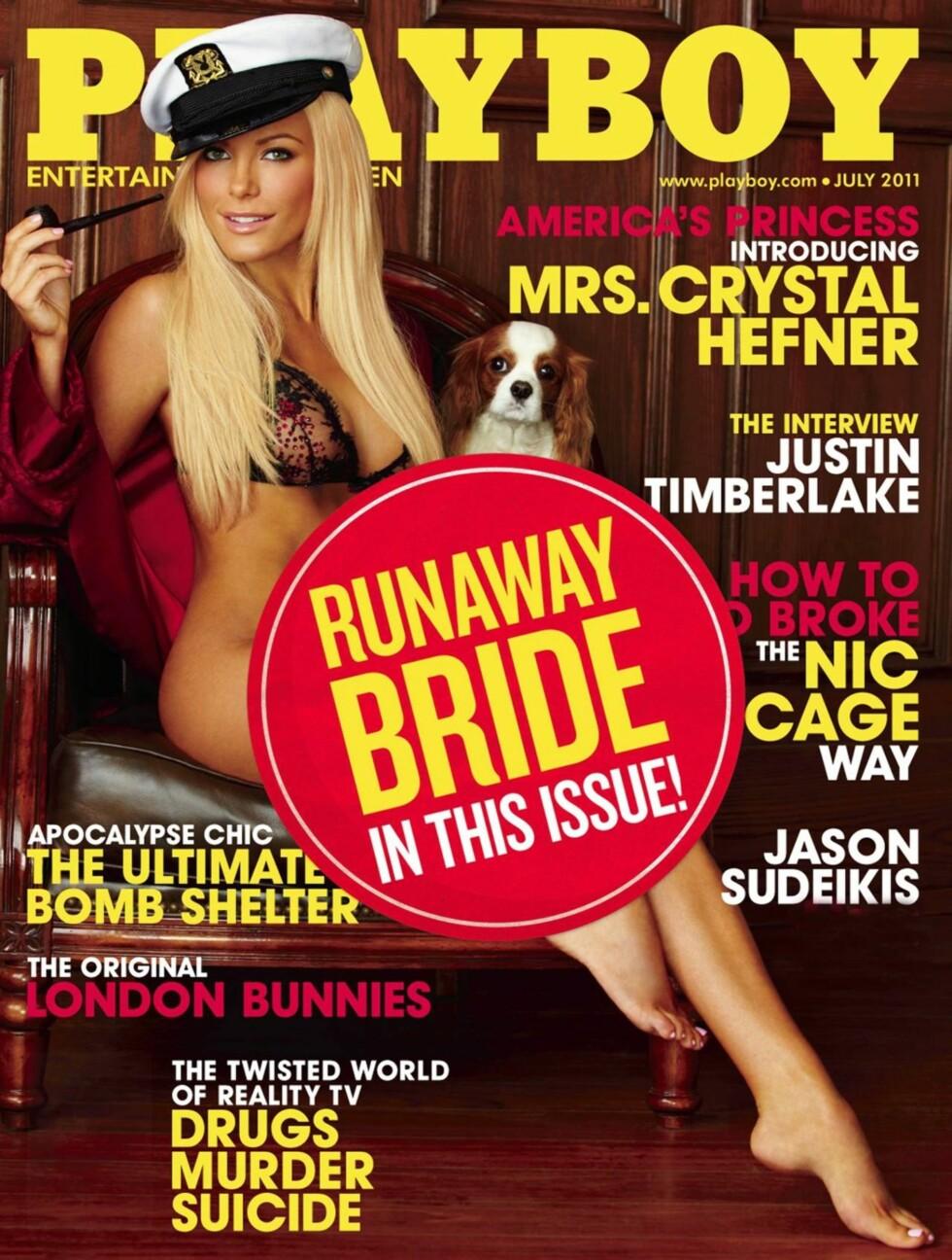 OOPS: Til og med Hugh Hefners eget blad ble tatt på senga av det avlyste bryllupet og klarte ikke å endre forsiden i tide. Foto: All Over Press