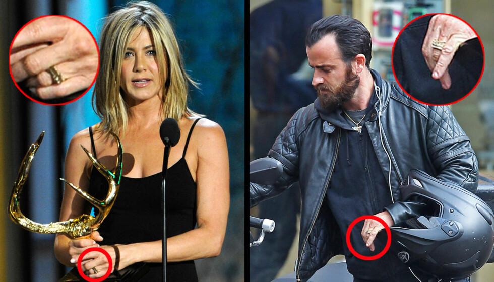 MATCHENDE RINGER: Jennfier Aniston og Justin Theroux har fått seg matchende gullringer på venstrehånda. Det setter for alvor fart i forlovelsesryktene. Bildet til venstre er av Jennifer Aniston fra «Guys Choice» Awards 4. juni, bildet til høyre er t Foto: All over press