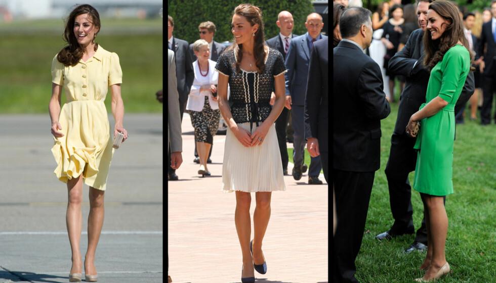 UNDERVEKTIG? Prinsesse Kates slanke figur vekker oppsikt etter besøket i Canada og USA. Hun skal ha gått ytterligere ned i vekt etter bryllupet i april.  Foto: All over press