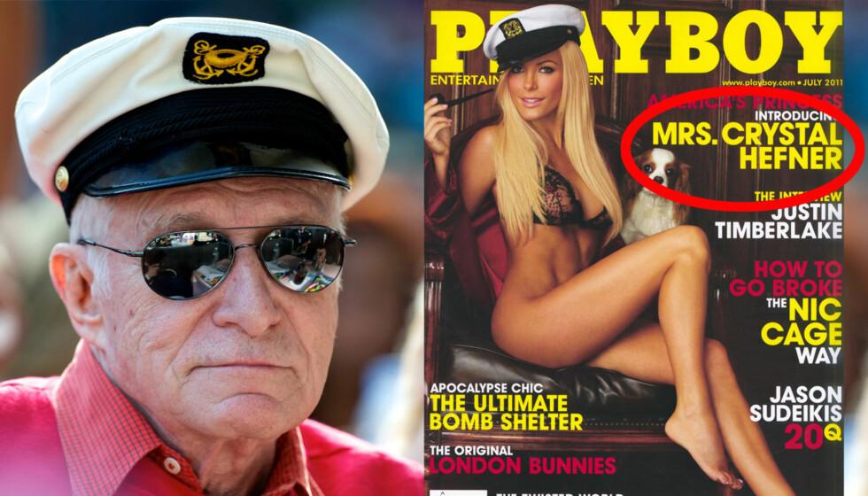 FOR TIDLIG I TRYKKEN: Hugh Hefners eget Playboy var i trykken før bruddet ble kjent. Dermed poserer Crystal Harris som Fru Hefner på forsiden.  Foto: All over press