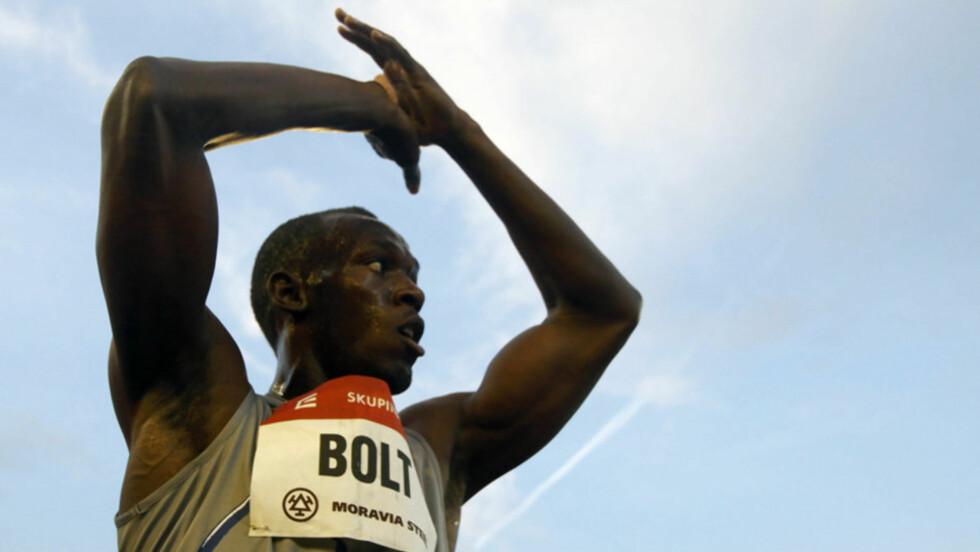<strong>VILL VINNER:</strong> Usain Bolt vinner det meste som kan vinnes - torsdag inntar han Bislett Stadion for å løfte Bislett Games til nye høyder. Her avbildet etter 100-meterseieren i Ostrava 31. mai.  Foto: Reuters/ Scanpix