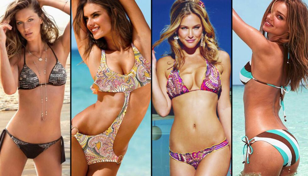 DELER SINE TIPS: Gisele Bundchen, Alessandra Ambrosio, Bar Refaeli og Miranda Kerr deler sine skjønnhetstips. Foto: Stella Pictures