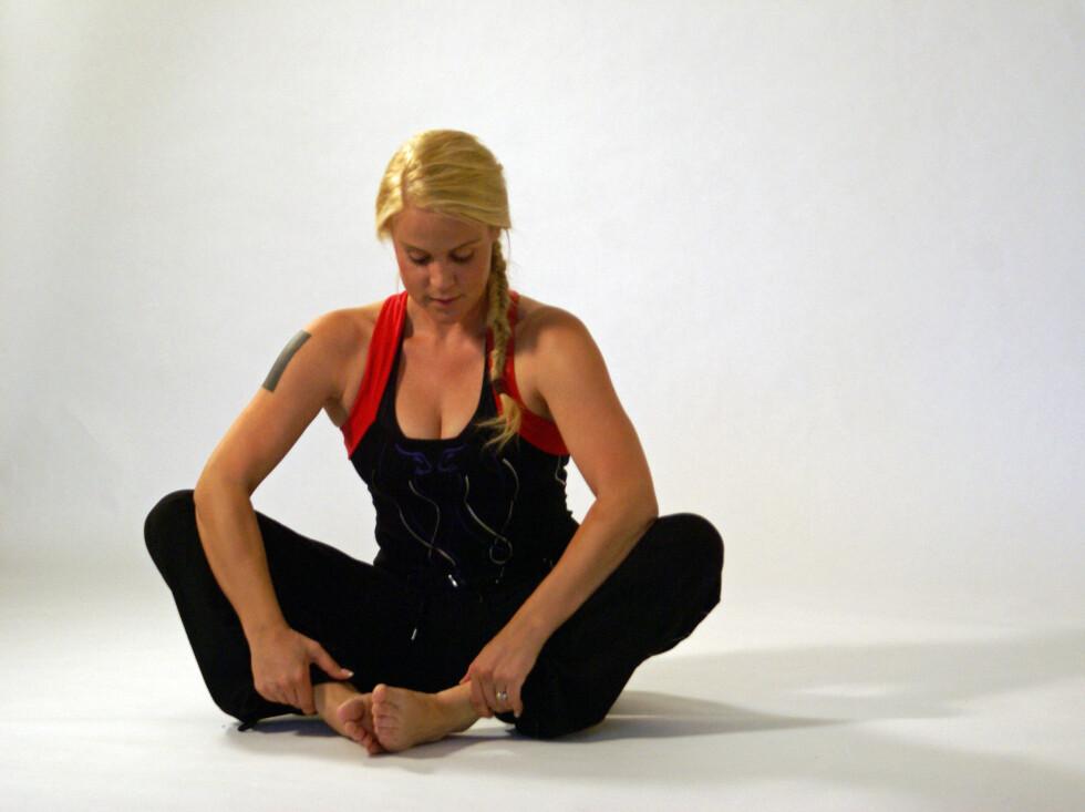 ET NATURTALENT: Johanna Grønneberg under photoshooten for Mitchis treningsklær. Foto: Privat