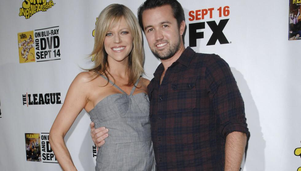 <strong>MED KONA:</strong> Rob McElhenney med kona Kaitlin Olson. Foto: Stella Pictures