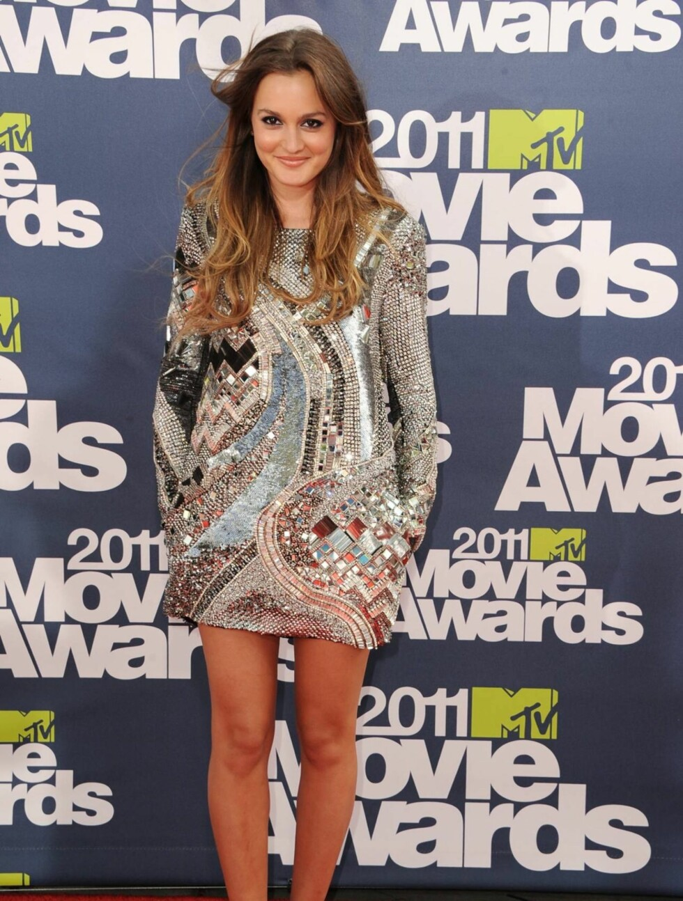 <strong>SØLVJENTE:</strong> «Gossip Girl»-stjernen Leighton Meester, hadde i likhet med flere av sine kolleger valgt kjole fra designeren Balmain. Foto: All Over Press