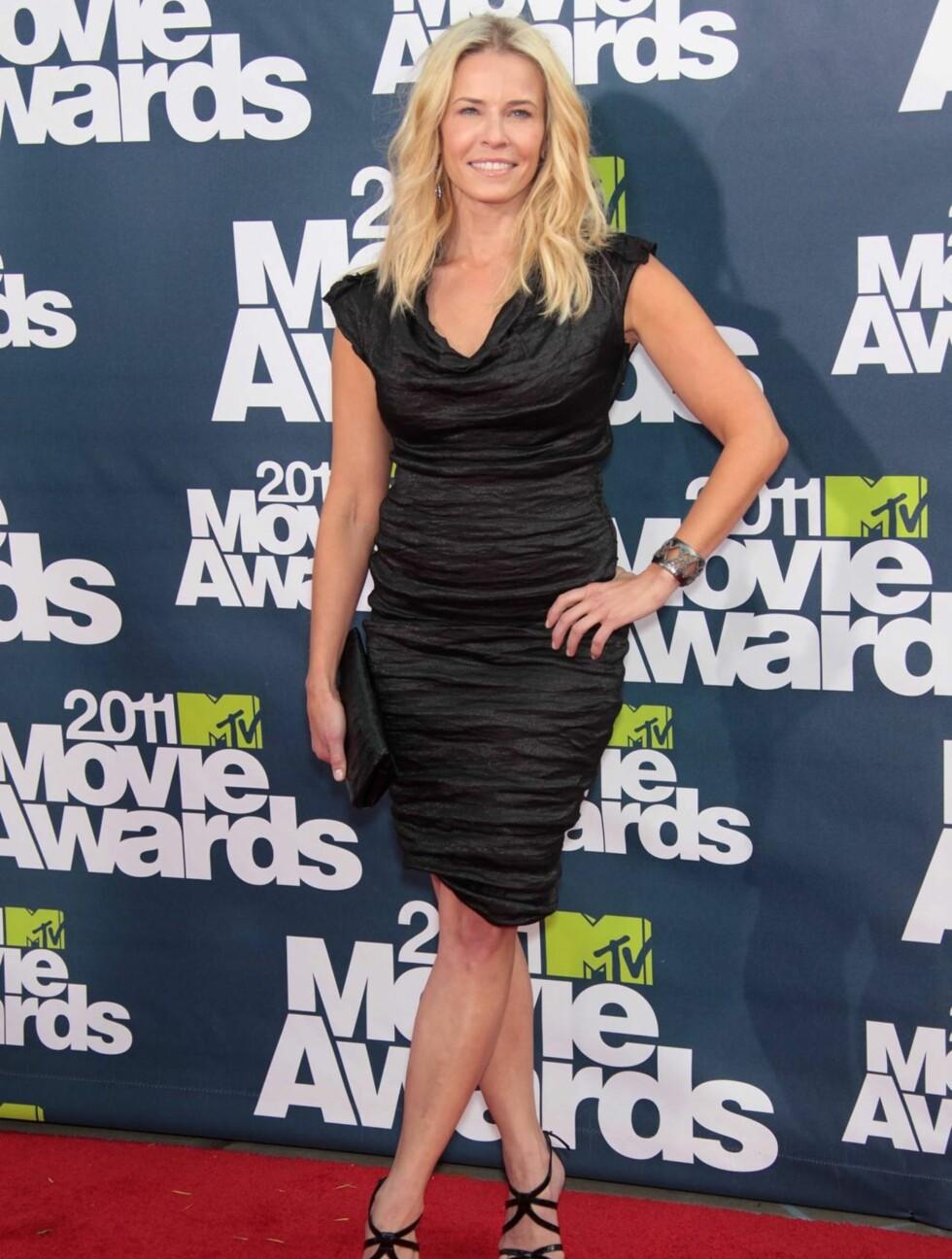 <strong>SMILTE BREDT:</strong> Komikeren Chelsea Handler kom i kjole av merket Lanvin. Foto: All Over Press