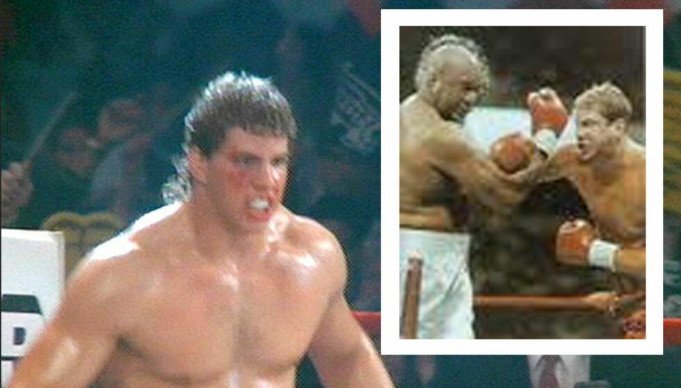 FILMSTJERNE OG TUNGVEKTSMESTER: Tommy Morrison fikk rollen som Tommy Gunn i Rocky V, som kom i 1990. Tre år senere vant han sitt første tungvektsbelte, da han slo George Foreman på poeng (innfelt). Foto: All Over
