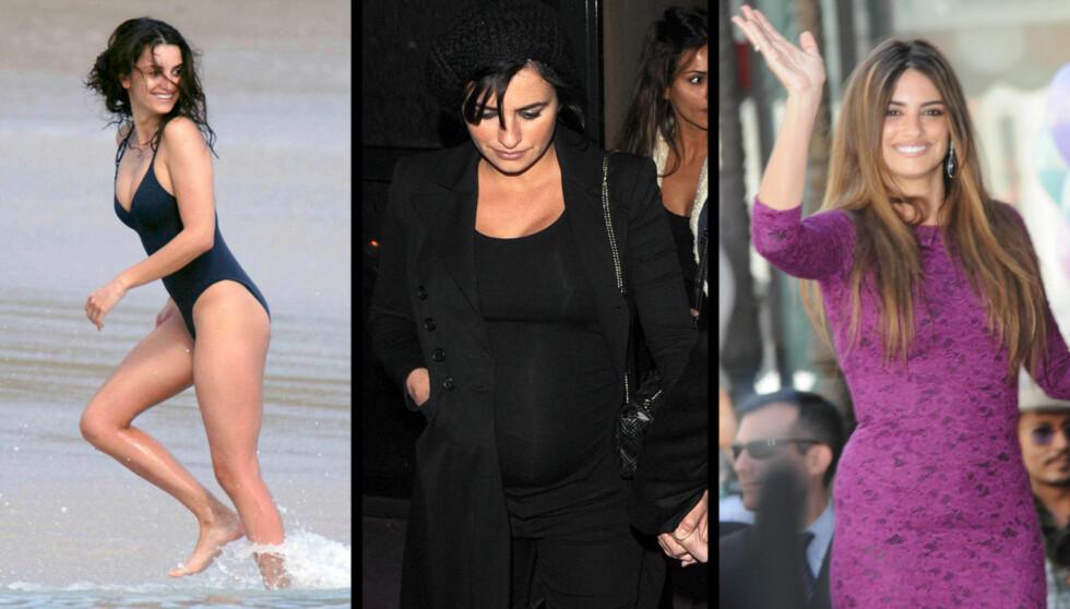 FØR/GRAVID/ETTER: Bildet til venstre er tatt før graviditeten. Bildet til høyre er tatt nylig. Det tok ikke lang tid før Penelope Cruz kvittet seg med kiloene etter fødselen. Foto: All Over Press