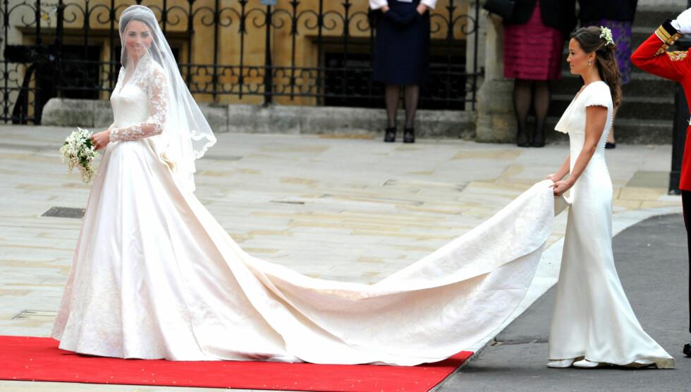 <strong>SVÆRT POPULÆR:</strong> Pippa Middletons brudepikekjole er nå blitt nesten like populær som Kate Middleton sin i brudesalonger i USA. Foto: All Over Press