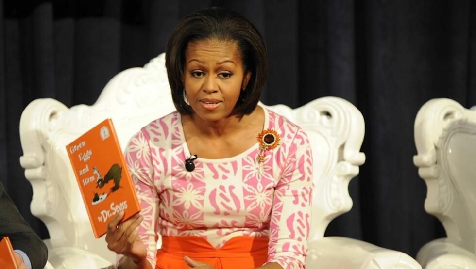 <strong>FØR:</strong> Dette bildet er tatt tidlig i februar. Her ser pannen til presidentfruen mye mer rynkete ut enn da hun gjestet The View. Foto: All Over Press