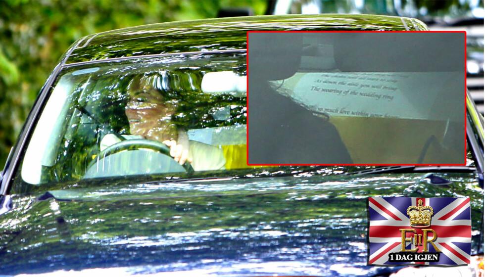 <strong>BRYLLUPSLØFTENE?:</strong> Bildet av et ark bak i bilen til Kate Middleton, da hun kjørte selv til Clarence House setter fart i spekulasjoner om det var bryllupsløftene hun har skrevet på arket. Foto: All over press