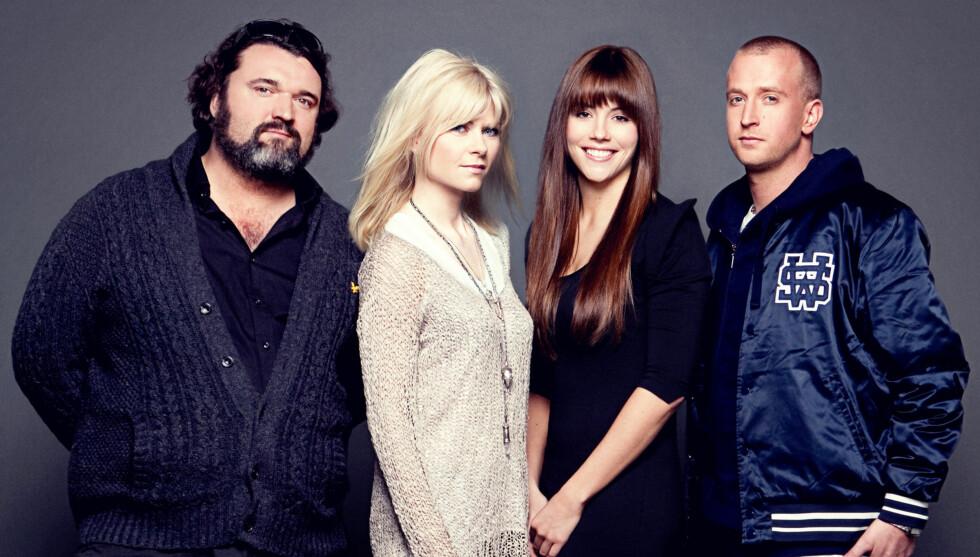 <strong>HER ER DOMMERNE:</strong> Hans-Eril Dyvik Husby, Bertine Zetlitz, Marion Ravn og Gunnar Greve Pettersen. Foto: Bjørn Wad/TV 2