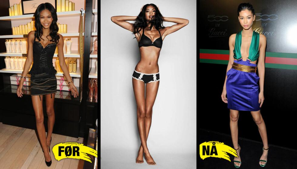 LAGT PÅ SEG?: Supermodell Chanel Iman skal visstnok ha lagt på seg rundt seks kilo den siste tiden - men er det mulig å se en forskjell? Til venstre er hun avbildet i september 2010, i midten i en ny reklame fra slutten av januar, til høyre er hun und Foto: All over press