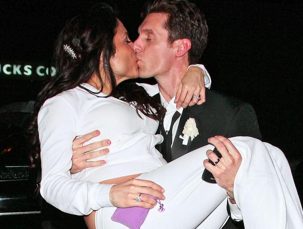 GIFT I JOGGEBUKSE: Bethenny Frankel valgte joggebukse istedenfor brudekjole, da hun i helgen giftet seg med kjæresten Jason Hoppy. Foto: All Over Press