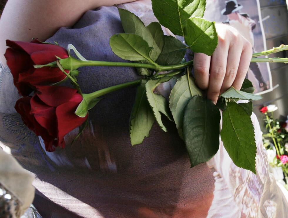 MED ROSER: Noen hadde valgt å ta med røde roser for å hylle Jackson. Foto: Kirsti Irgens Ertsås, Seher.no